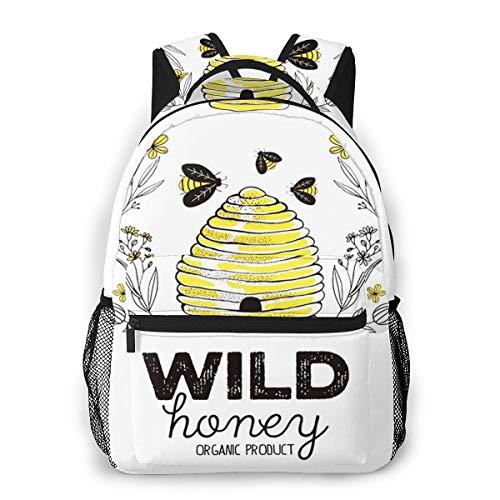 Laptop Rucksack Schulrucksack Bienenstock Honig Bio, 14 Zoll Reise Daypack Wasserdicht für Arbeit Business Schule Männer Frauen