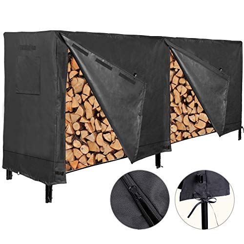 MR. COVER 8 Feet Firewood Rack Cover, Heavy Duty Waterproof Log Rack Cover for Outdoor Wood Holder, Rip-Resistant and Snow-Resistant, 96L x 24W x 48H