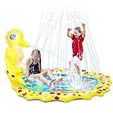 Herefun 96 cm Splash Pad Sprinkler Spielzeug, Splash Play Matte, Wasser Spielmatte, Wasserspielzeug Garten, Sommer Garten Trampolin, für Kinder Familie Party im Freien Aktivitäten