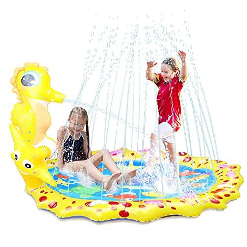 Herefun Splash Pad, 170 cm Sprinkler Spielzeug, Splash Play Matte, Wasser Spielmatte, Wasserspielzeug Garten, Sommer Garten Trampolin, für Kinder Familie Party im Freien Aktivitäten