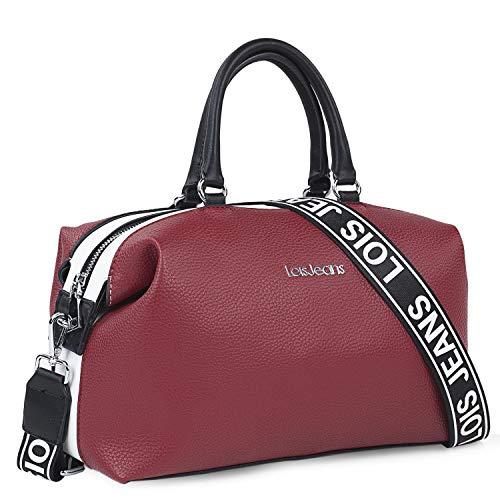 Lois - Bolso de Mano con Dos Bandoleras Intercambiables, una de Ellas Personalizada con el Diseño Minimalista de la Marca, Elegante, Funcional y Moderno 307131, Color Rojo-Blanco