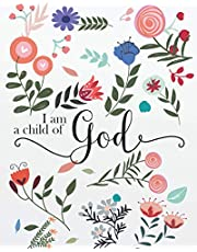 "I am a child of God: Flowers Cover Bible Verse Journal Notebook with Lined For 134 Pages of 8""x10"" inches (Bible Verse Notebook Christian Floral Journal Series)"