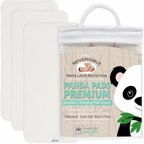 Bamboo Changing Pad Liners. Reversible 3-Pack. Ultra Soft & Absorbent 3 Layer Design to use When Changing Baby's Nappy. A Waterproof Mat That Covers Your Diaper or Nappy Changing Table or Pad