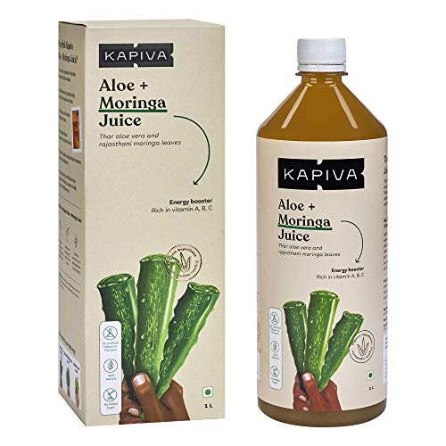 Kapiva 100% Organic Aloe Vera (USDA) + Moringa Juice Energy Booster - No Added Sugar, 1 L