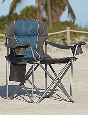LivingXL 500-lb. Capacity Heavy-Duty Portable Oversized Chair, Collapsible Padded Arm Chair with Cup Holders and Lower Mesh Side Pocket, Blue
