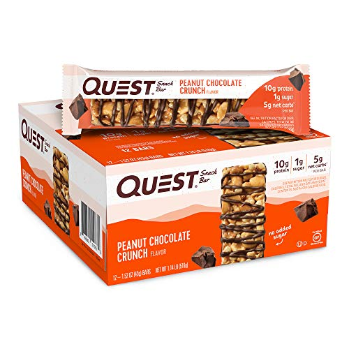 Quest Nutrition Peanut Chocolate Crunch Snack Bar High Protein Low Carb Gluten Free Keto Friendly 152 Ounce Pack of 12