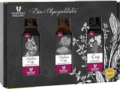 Ölmühle Solling Set Fruchtessige, BIO, Holunderblütenbalsamessig - Apfelquittenessig - schwarzer Johannisbeeressig, 1er Pack (1 x 300 ml)