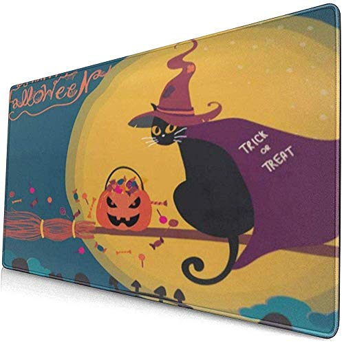 Gaming Extended Mouse Pads mit Rutschfester Gummibasis Halloween Pumpkin Witch Black Cat 30X80 cm