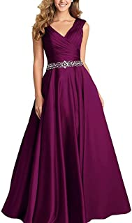 Dannifore V-Neck Pleated Satin Prom Dress Beaded Long Formal Evening Gowns for Women