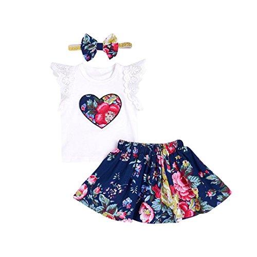 K-youth Vestido para Bebés, Floral Imprimir Vestido Niña Vestido de Fiesta Sin Manga Princesa Falda Ropa de Bebe niña Verano 2018 Vestir (Blanco, 0-6 Meses)