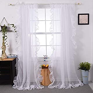 Baileduo Home Morden Ruffle Sheer Curtain Solid Rod Pocket Two Panels 50WX63L