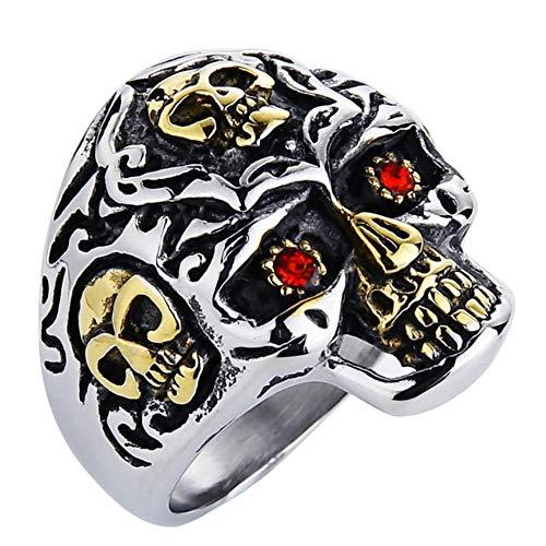 Valily Sieraden Heren Skull Ring Goud Kleur Motorfiets Biker Punk Red Eye Skull Ring Heren Sieraden Roestvrij stalen ringen Sieraden