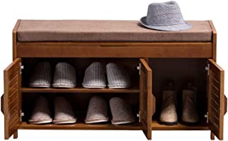 DECETAZY 防水・防塵・防湿 隠されたストレージコンパートメントシューズラック靴ベンチ靴キャビネット木製シューズラック付きシューズラック取り外し可能なクッション(カラー、サイズ:90x32.5x49cm) 幾重にも並べる