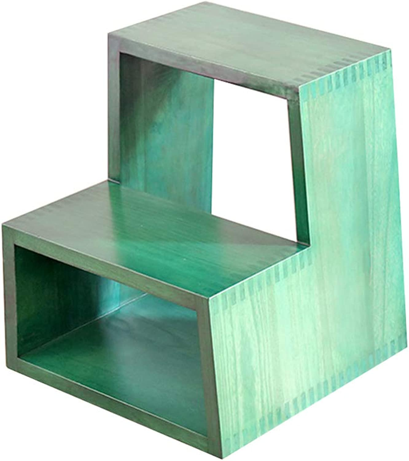 GSHWJS 2-Step Solid Wood Step Stool Multi-Function shoes Bench 150kg Capacity (Green) Step Stool
