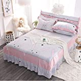 LJN_Home Bedding SábanaFalda de Cama de Encaje Antiarrugas de algodón, Conejo Fira - Gris_200 * 220cmBajeras Ajustables