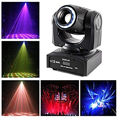 UKing LED Moving Head Disco Lights RGBW 4 in 1 Stage Lighting 11/13 Channel by DMX 512 Sound Activated Great for dj disco party lights