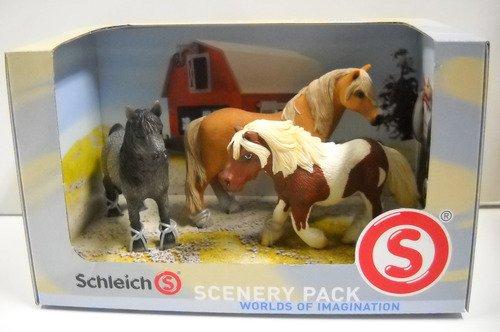 Schleich Pferde Scenery Pack 41271 Dartmoor Hengst Shetland Hengst Wallach