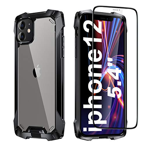 PILIPAPA Designed for iPhone 12 Mini Case, Rugged Military Grade Drop Tested Shockproof Cover with Explosion-Proof Screen Protector, Lightweight Protective PC Case (5.4 inch, Black)