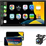 """Double Din Car Stereo with Bluetooth Audio- Apple CarPlay & Android Auto, 7"""" HD Touchscreen Car Multimedia Player with Rearview Camera, AM/FM Radio Receiver, USB/ SWC/ AUX Input, Mirror Link"""