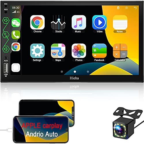 Double Din Car Stereo with Bluetooth Audio- Apple CarPlay & Android Auto, 7' HD Touchscreen Car Multimedia Player with Rearview Camera, AM/FM Radio Receiver, USB/SWC/AUX Input, Mirror Link