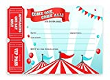 POP parties Circus Large Invitations - Carnival Invitations - 10 Invitations 10 Envelopes