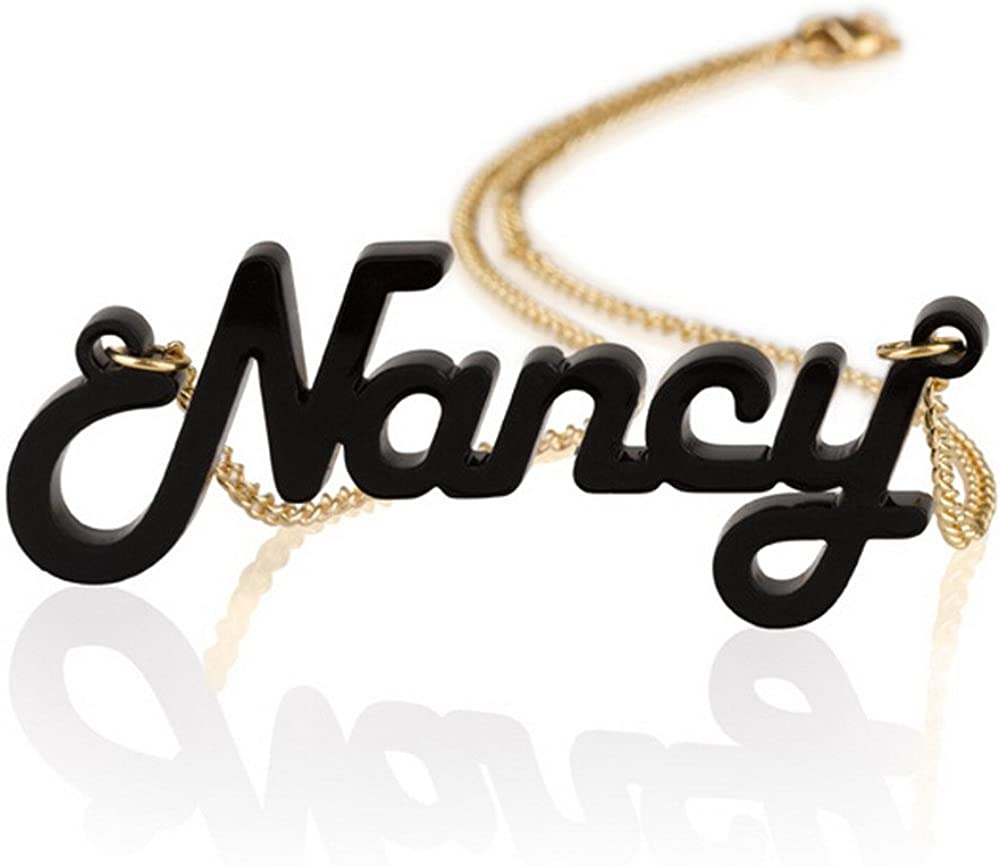 Personalized Acrylic Name Necklace with 18k Gold Plated Chain -Custom Made Choose Any Color and Any Name