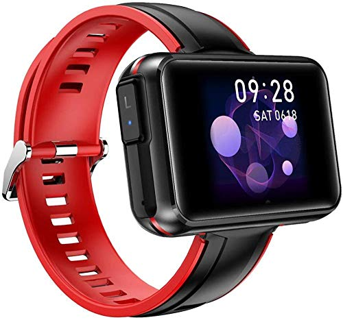 YSSJT Reloj inteligente con tapones BT5.0, pantalla táctil de 1,4 pulgadas, pantalla inteligente, pulsera, auriculares, frecuencia cardíaca, presión arterial, carga magnética-rojo