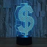 Luz nocturna Ilusión 3D LED Signo de dólar Modelo Lámpara Sensor táctil Carga USB Multi-color...