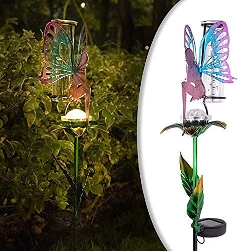 LeiDrail Rain Gauge with Holder Metal Ground Spike 91cm Garden Outdoor Solar Powered Fairy Decorative LED Lights 5 Inch Capacity Waterproof Glass Tube for Yard Lawn Patio Pathway