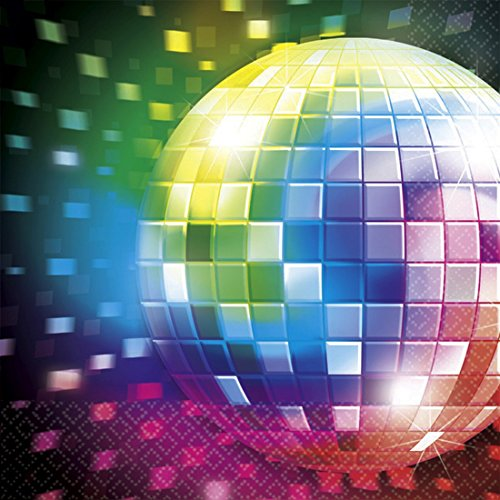 NET TOYS 16 STK. Party Tischdekoration 70`s Servietten Mottoparty Deko 70er Jahre Tischdeko Disco Partydeko