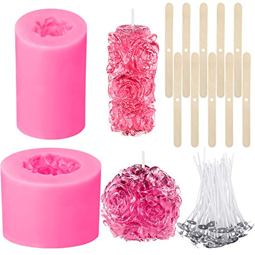 2 Pieces 3D Rose Candle Molds Cylinder and Sphere Shape Rose Flower Silicone Molds with 100 Candle Wicks and 10 Wooden Candle Wick Holders for Making Beeswax Candles Soaps Lotion Bars Bath Bombs