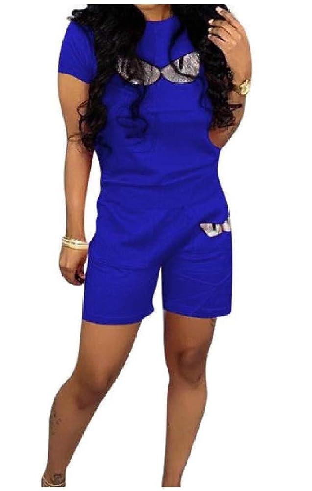整然とした広々不確実VITryst 女性カジュアルスパンコール移動スタイリッシュトップとショートパンツの衣装