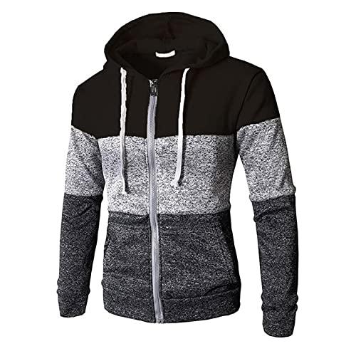 Herren Patchwork Kapuzenjacke Sport Style Casual Fitness Training Hoodie Slim Fit Outdoor Farbblock Sweatjacke Outwear Kapuzenpulli mit Reißverschluss