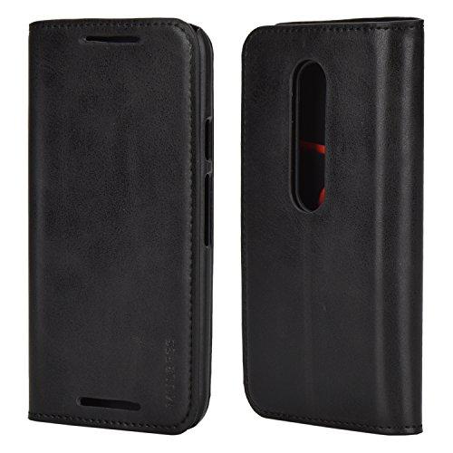 Mulbess Ledertasche im Ständer Book Hülle für Motorola Moto G 3. Generation Tasche Hülle Leder Etui,Schwarz