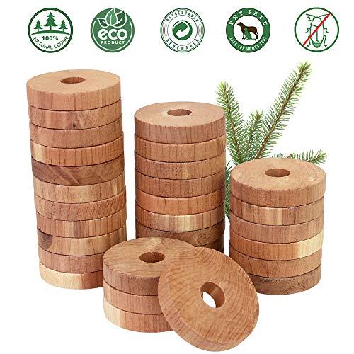 Golrisen Natural Cedar Wood Moth Repellent, 30 Pack Cedar Balls Hangers Ringen, Kledingsbescherming, Geur Preventie, Laden Freshener voor Kledingkasten, Laden, Kasten om Kleding Opslag te beschermen