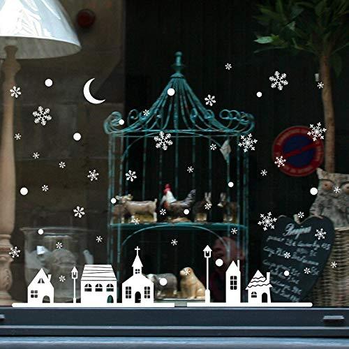 WOCAO Weihnachten dekorative Aufkleber Fenster Aufkleber abnehmbare DIY Glaswand Frohe Weihnachten Schneeflocke Santa Deer & Schlittenfahrt Aufkleber
