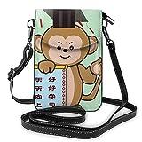 Lawenp Bolso bandolera para teléfono con mono erudito aprendido, pequeño Mini bolso de hombro, bolso para teléfono móvil, cartera de cuero para mujeres y niñas