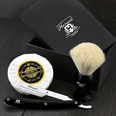 Hand Assembled Sophist Collection Elegantly Designed White Badger Hair Shaving Brush with Straight Cut Throat Razor,Shaving Soap Traditional Straight Shaving Razor.Perfect Gift This Christmas.