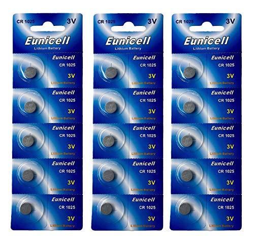 Eunicell 15 x CR1025 3V Lithium Knopfzelle (3 Blistercards a 5 Batterien) EINWEG Markenware FBA