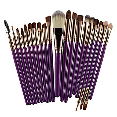 GONGFF 20pcs Professionnel pinceaux de Maquillage mis Poudre Base Fard à paupières Fard à paupières Maquillage cosmétiques Doux Doux Cheveux synthétiques café et Violet