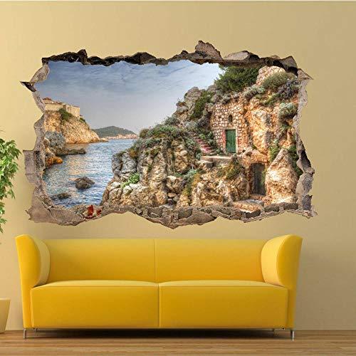Casas De Piedra Mediterránea 3D 80X120Cm