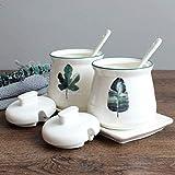 Gafas de especias de cerámica con tapa de cerámica Cerámica Spice Cocina Suministros de cocina Spice Box Traje Combinación Planta Spice Bottle Cocina Tanque de almacenamiento ( Color : White )
