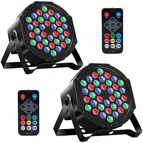MOSFiATA 2 Pcs Par Lights DMX RGB 36 LED DJ Stage Light Sound Activated 7 Modes Uplighting with product image