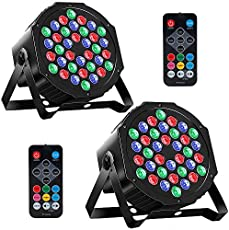 MOSFiATA 2 Pcs Par Lights DMX, RGB 36 LED DJ Stage light Sound Activated 7 Modes Uplighting with Remote Control DJ Equipment for Club Christmas Wedding Party Indoor Event Dance (2 Pack)
