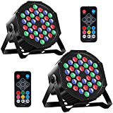 MOSFiATA 2 Pcs Par Lights, RGB 36 LED Stage Lights Sound Activated DMX Control, 7 Modes Uplighting Lights with Remote Control Stage Lighting, DJ Par Party Lights for Club KTV Disco Party (2 Pack)