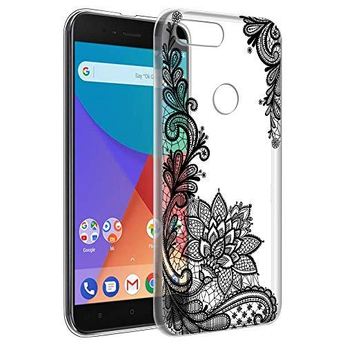 Funda Xiaomi A1, Eouine Cárcasa Ultrafina Silicona 3D Transparente con Dibujos Impresión Patrón [Antigolpes] Housse Fundas para Movil Xiaomi Mi A1 / Xiaomi Mi 5X 2018-5,5 Pulgadas (Flor Negro)