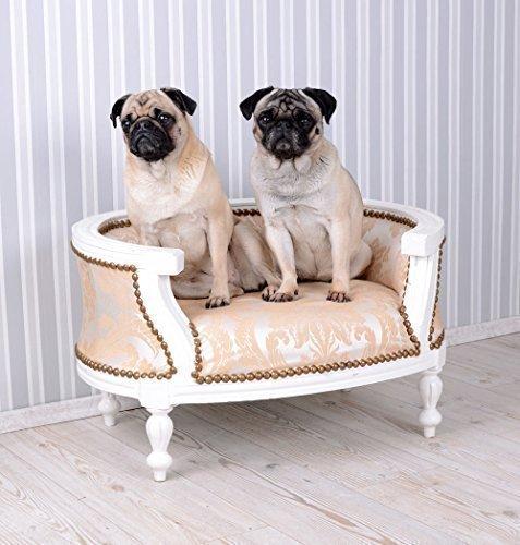 PALAZZO INT Hundebett Barock Hundesofa Creme Bett für Mops & Bully