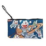 Doraemon Cash Coin - Monedero de lona con cremallera para maquillaje, con correa para el teléfono móvil