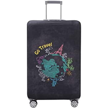 Cute 3D Hand Drawn Butterflies Pattern Luggage Protector Travel Luggage Cover Trolley Case Protective Cover Fits 18-32 Inch