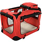 Lightweight Fabric Pet Carrier Crate with Fleece Mat and Food Bag